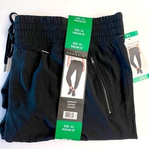 DANSKIN Joggers Black Woven Zipper Pockets NWT